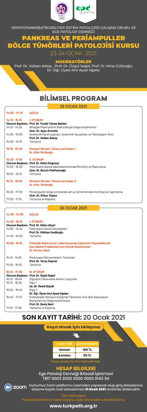 23-24 Ocak 2021 Pankreas ve Periampuller Bölge Tümörleri Patolojisi Kursu