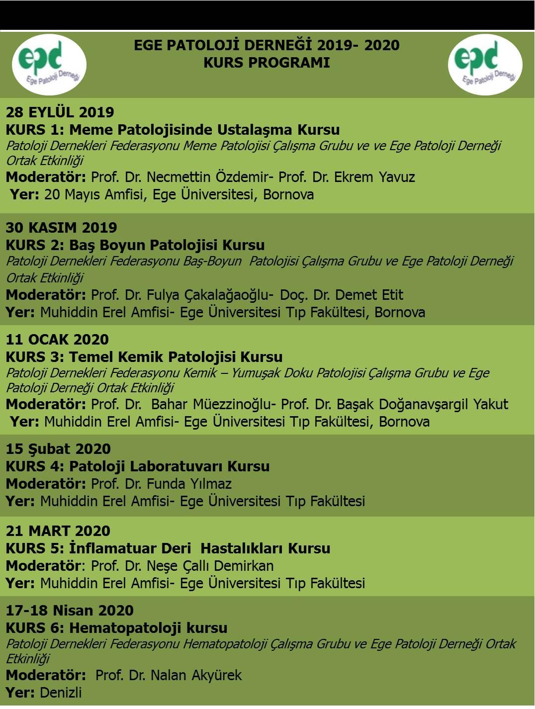 Ege Patoloji Derneği 2019-2020 Kurs Programı-1