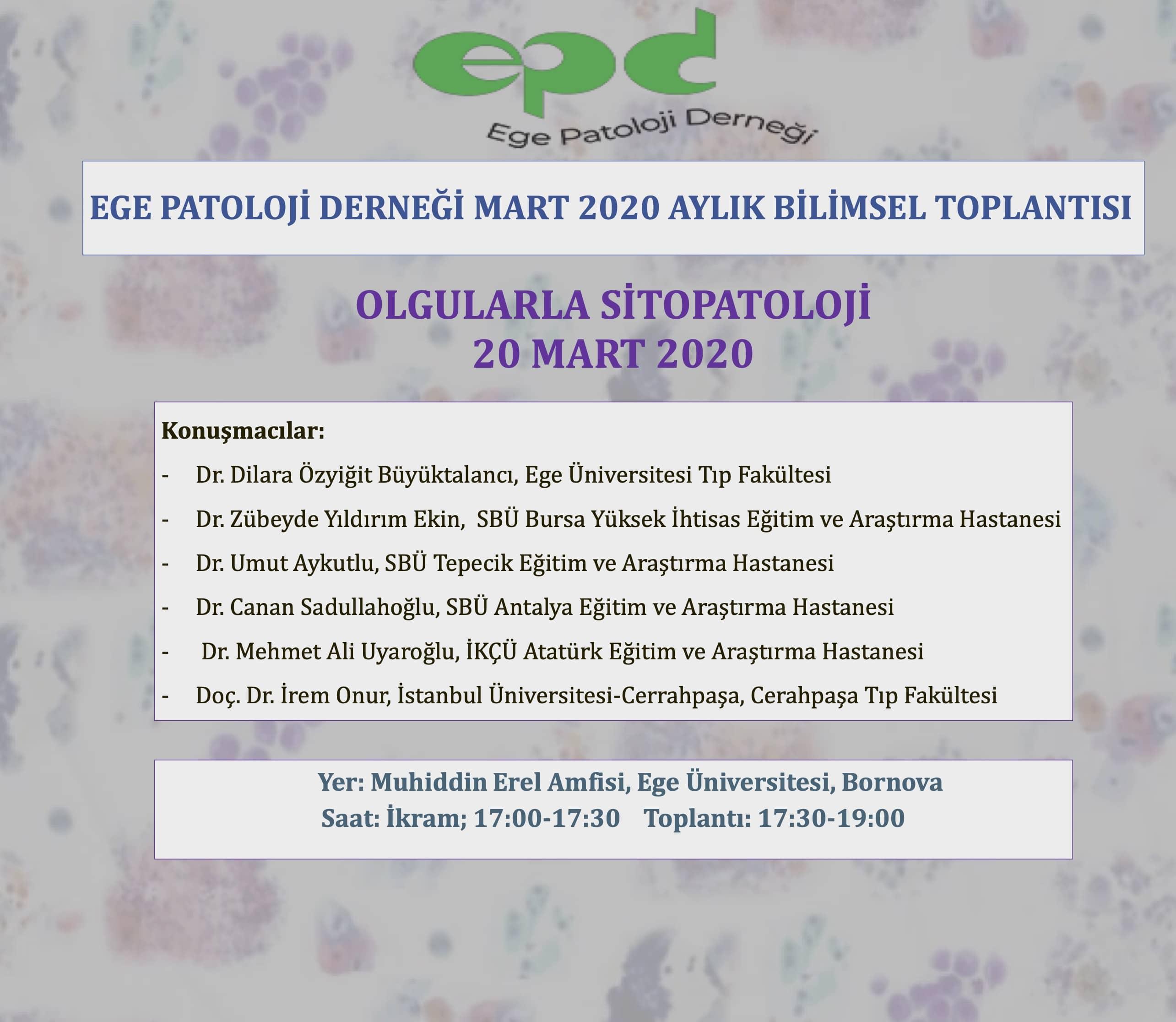 20 Mart 2020 - OLGULARLA SİTOPATOLOJİ